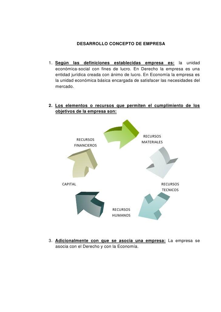 DESARROLLO CONCEPTO DE EMPRESA<br />Según las definiciones establecidas empresa es: la unidad económica-social con fines d...