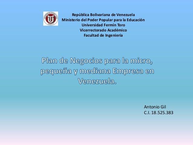 República Bolivariana de Venezuela Ministerio del Poder Popular para la Educación Universidad Fermín Toro Vicerrectorado A...