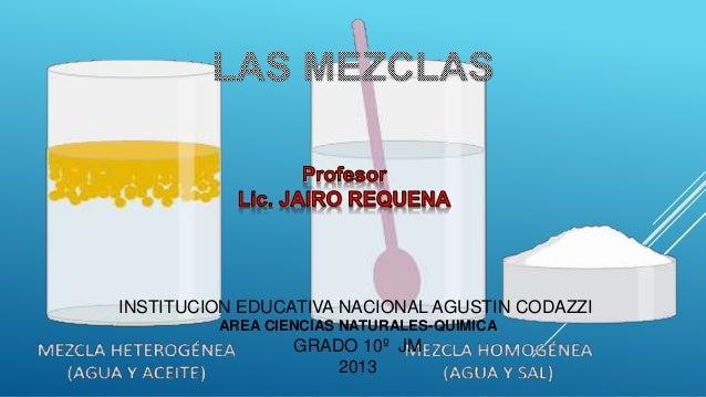INSTITUCION EDUCATIVA NACIONAL AGUSTIN CODAZZI AREA CIENCIAS NATURALES-QUIMICA  GRADO 10º JM 2013