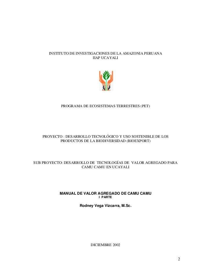 INSTITUTO DE INVESTIGACIONES DE LA AMAZONIA PERUANA                           IIAP UCAYALI           PROGRAMA DE ECOSISTEM...