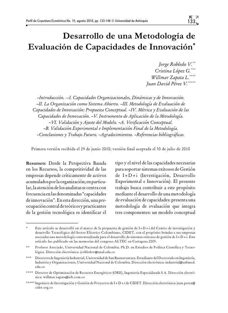 Perfil de Coyuntura Económica No. 15, agosto 2010, pp. 133-148 © Universidad de Antioquia                    133          ...