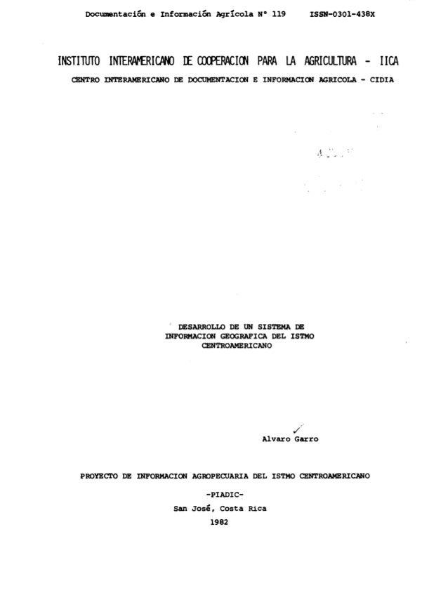 Desarrollo de un SIG del istmo centroamericano (1982)