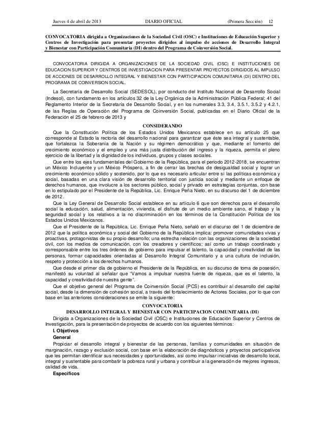 Jueves 4 de abril de 2013  DIARIO OFICIAL  (Primera Sección)  12  CONVOCATORIA dirigida a Organizaciones de la Sociedad Ci...