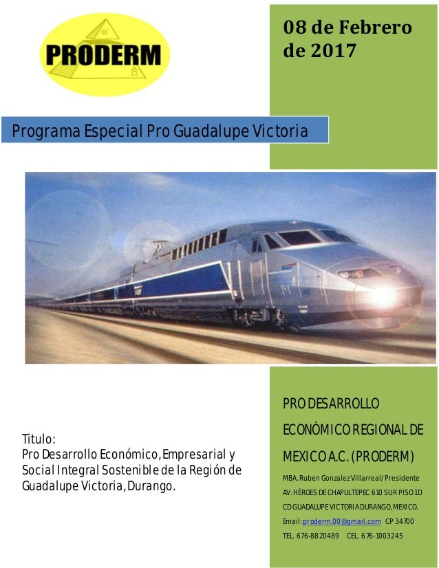 PRO DESARROLLO ECONÓMICO REGIONAL DE MEXICO A.C. PROGRAMA GENERAL: PRO DESARROLLO ECONÓMICO EMPRESARIAL Y SOCIAL INTEGRAL ...