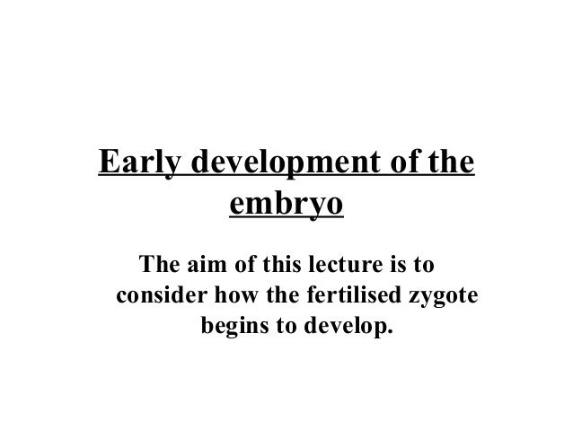 Early development of the embryo The aim of this lecture is to consider how the fertilised zygote begins to develop.