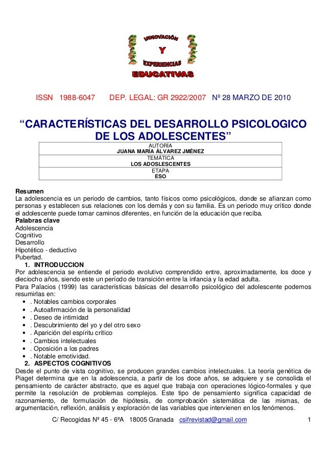 """ISSN 1988-6047           DEP. LEGAL: GR 2922/2007 Nº 28 MARZO DE 2010 """"CARACTERÍSTICAS DEL DESARROLLO PSICOLOGICO         ..."""