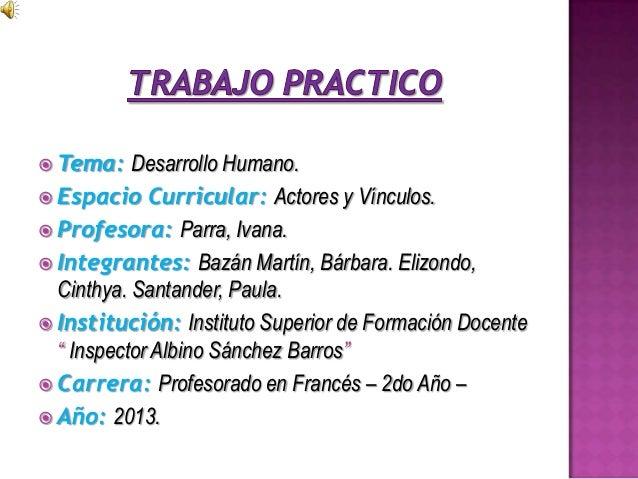  Tema: Desarrollo Humano. Espacio Curricular: Actores y Vínculos. Profesora: Parra, Ivana. Integrantes: Bazán Martín, ...