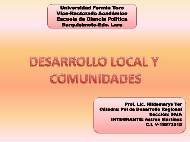 Universidad Fermín ToroVice-Rectorado AcadémicoEscuela de Ciencia Política  Barquisimeto-Edo. Lara                        ...