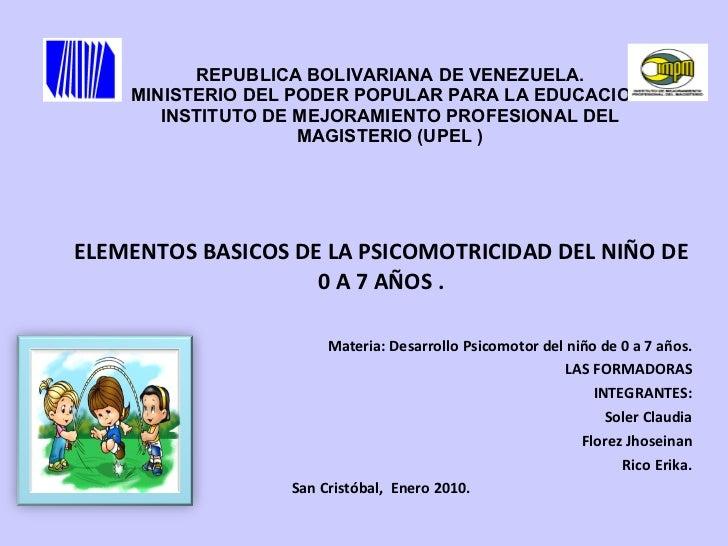 REPUBLICA BOLIVARIANA DE VENEZUELA. MINISTERIO DEL PODER POPULAR PARA LA EDUCACION. INSTITUTO DE MEJORAMIENTO PROFESIONAL ...