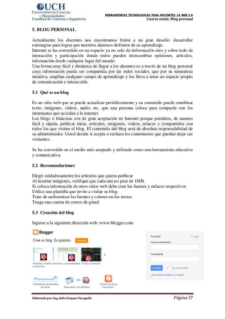 HERRAMIENTAS TECNOLOGICAS PARA DOCENTES: LA WEB 2.0Facultad de Ciencias e Ingeniería                                    Cu...