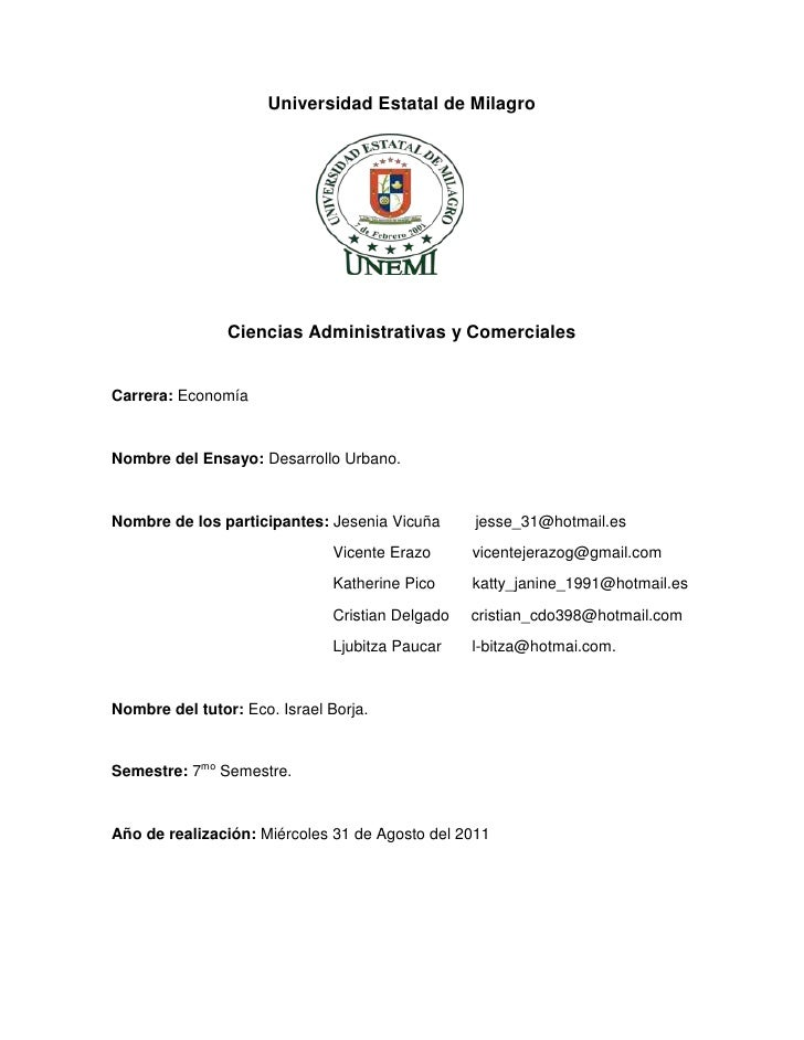 Universidad Estatal de Milagro<br />1977390196850<br />Ciencias Administrativas y Comerciales<br />Carrera: Economía<br />...