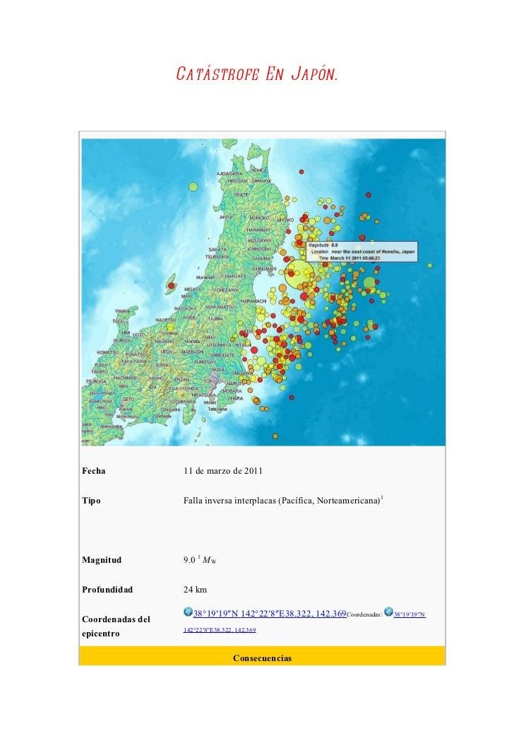 Catástrofe En Japón.Fecha              11 de marzo de 2011Tipo               Falla inversa interplacas (Pacífica, Norteame...