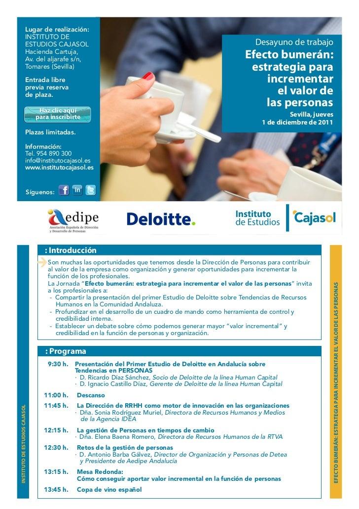 Desayuno con Deloitte – efecto bumerán: estrategia para incrementar el valor de las personas