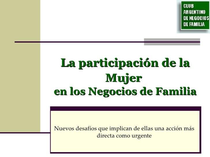 Participación de la Mujer en la Empresa Familiar