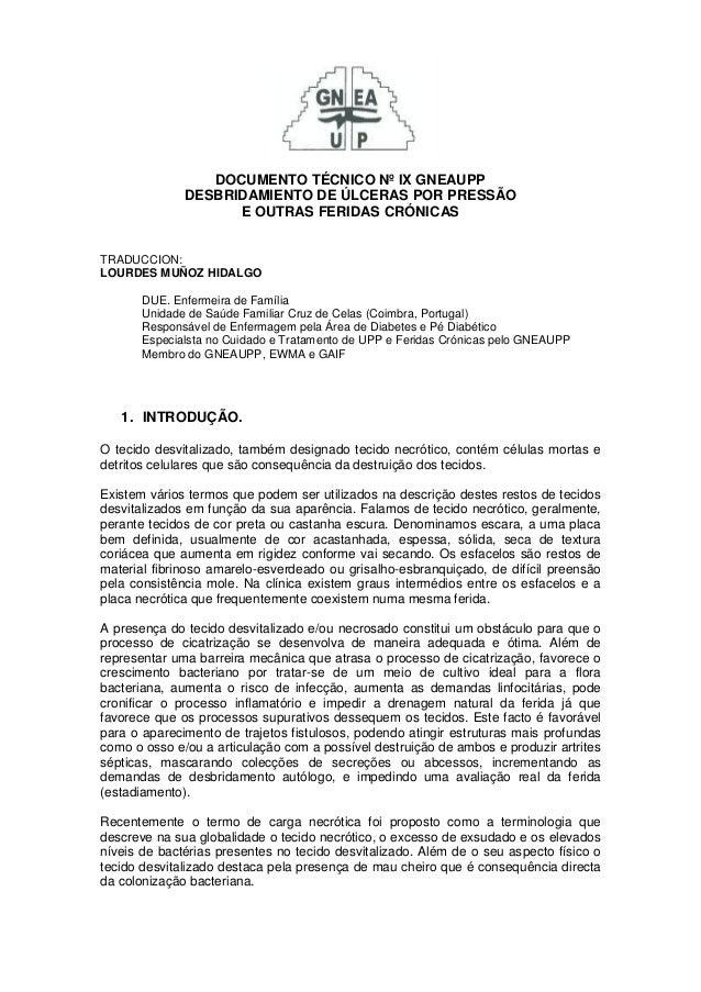 DOCUMENTO TÉCNICO Nº IX GNEAUPP  DESBRIDAMIENTO DE ÚLCERAS POR PRESSÃO  E OUTRAS FERIDAS CRÓNICAS  TRADUCCION:  LOURDES MU...