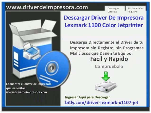 Descargar driver de impresora lexmark 1100 color jetprinter
