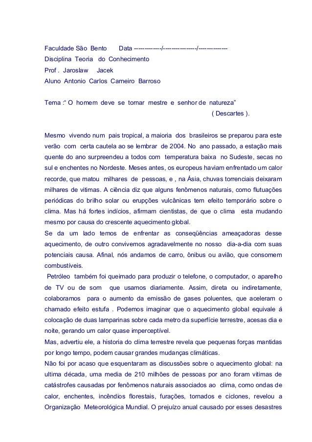 Faculdade São Bento Data -------------/----------------/-------------- Disciplina Teoria do Conhecimento Prof . Jaroslaw J...