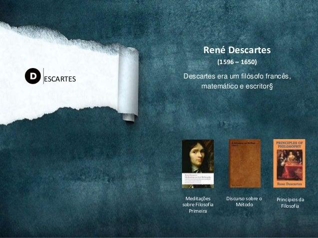 René Descartes (1596 – 1650) Descartes era um filósofo francês, matemático e escritor§ ESCARTES Discurso sobre o Método Me...