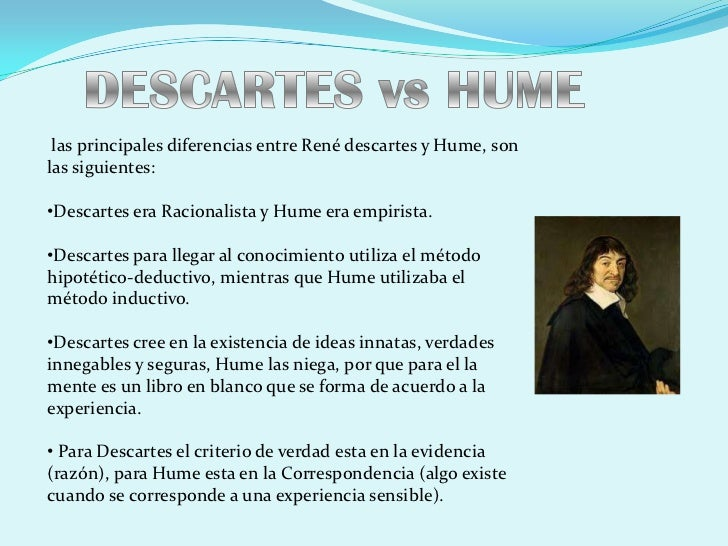 descartes vs hume essay Cakesistence i am hosting a dinner party at my house i have invited 2 friends over to join me one is a humean empiricist and the other a cartesian.