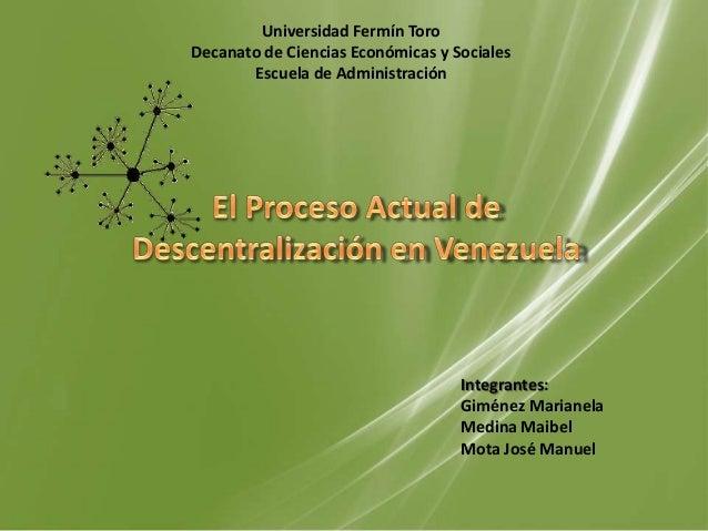 Universidad Fermín ToroDecanato de Ciencias Económicas y Sociales       Escuela de Administración                         ...