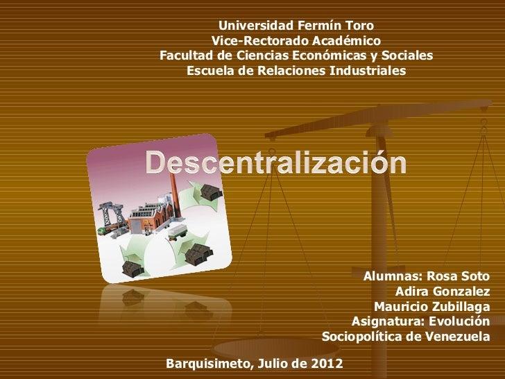 Universidad Fermín Toro        Vice-Rectorado AcadémicoFacultad de Ciencias Económicas y Sociales    Escuela de Relaciones...