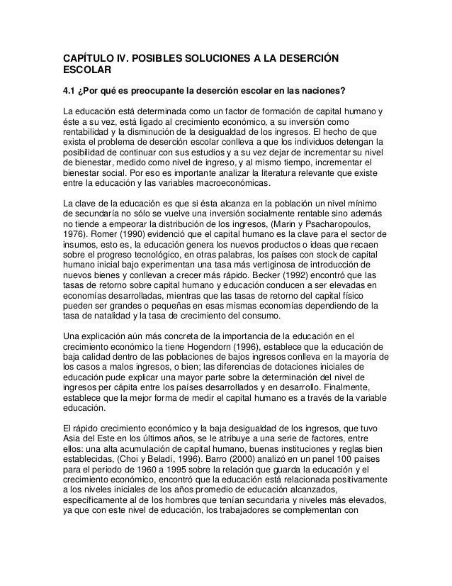 CAPÍTULO IV. POSIBLES SOLUCIONES A LA DESERCIÓN ESCOLAR 4.1 ¿Por qué es preocupante la deserción escolar en las naciones? ...