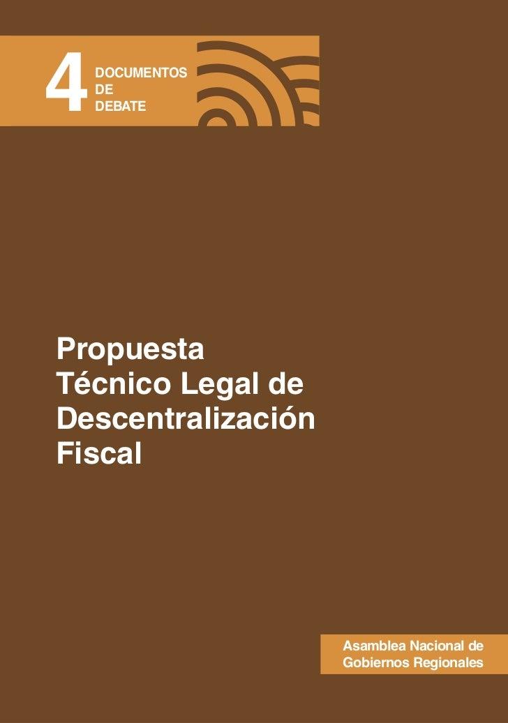 Propuesta Técnico Legal de Descentralización Fiscal