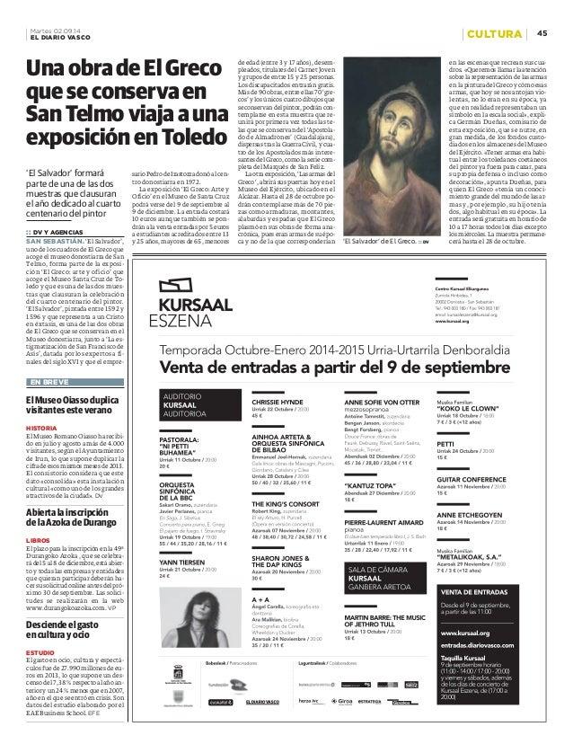 Martes 02.09.14 45  EL DIARIO VASCO CULTURA  UnaobradeEl Greco  que se conserva en  San Telmo viaja a una  exposición en T...