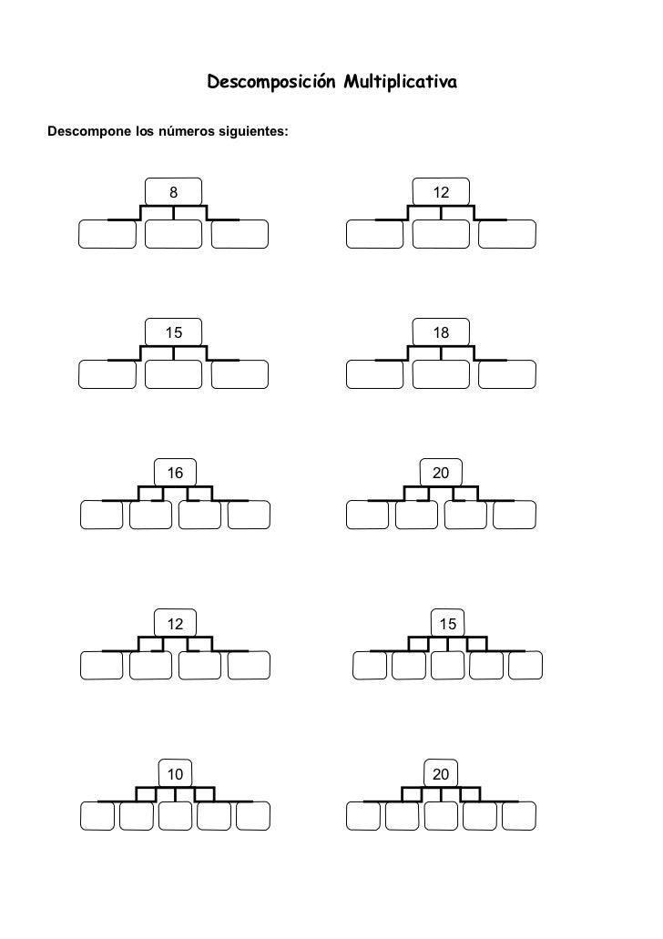 Descomposición MultiplicativaDescompone los números siguientes:                 8                              12         ...