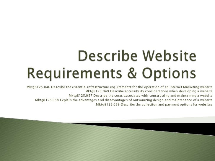 Mktg8125.046 Describe the essential infrastructure requirements for the operation of an Internet Marketing website        ...