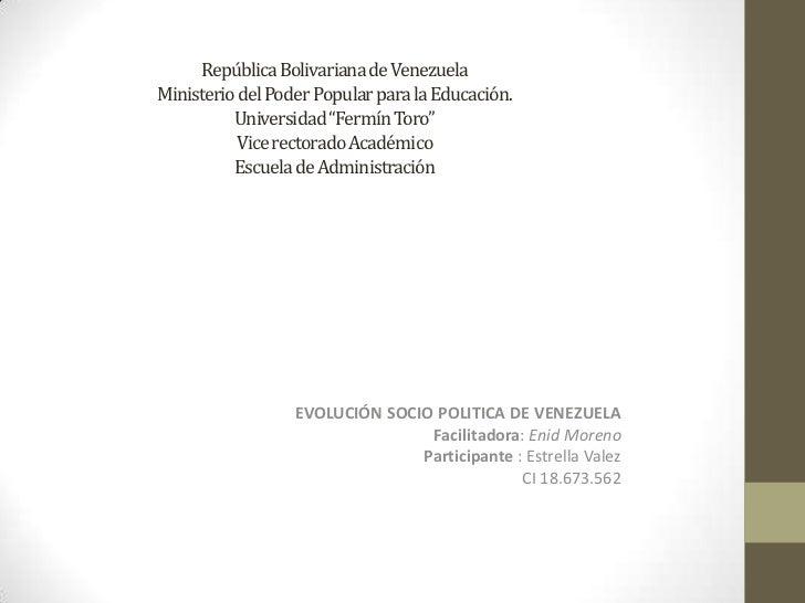 """República Bolivariana de VenezuelaMinisterio del Poder Popular para la Educación.Universidad """"Fermín Toro""""Vice rectorado A..."""