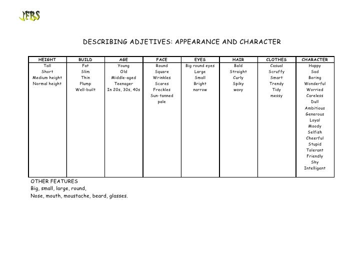 DESCRIBING ADJETIVES: APPEARANCE AND CHARACTER    HEIGHT          BUILD             AGE             FACE           EYES   ...