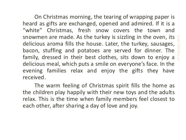 Descriptive essay on christmas dinner