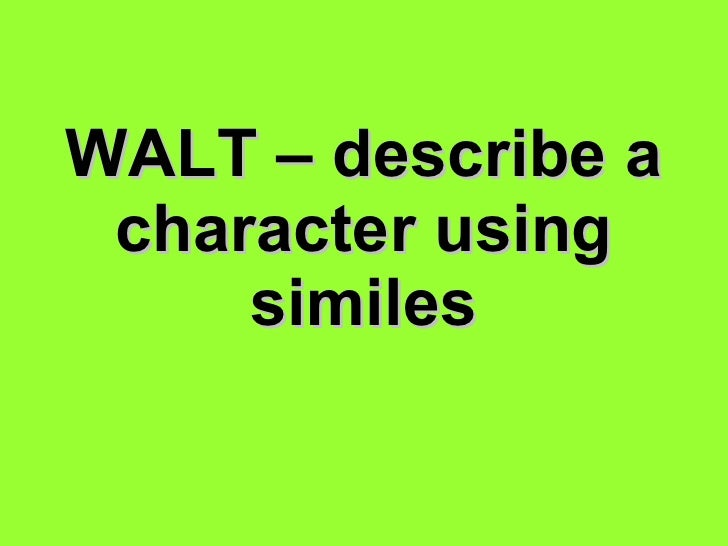 Describing characters using similes