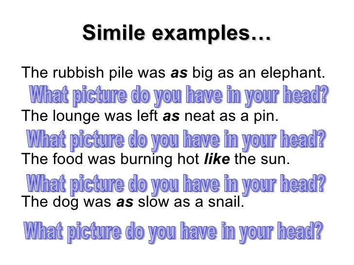 Describing characters using similes