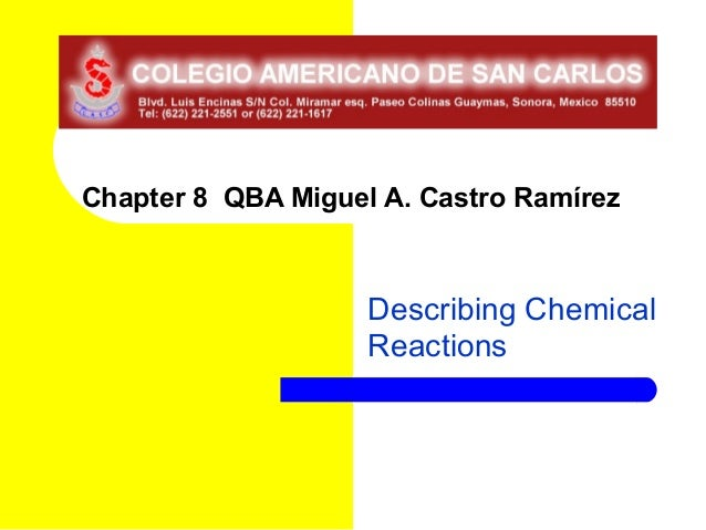 Chapter 8 QBA Miguel A. Castro Ramírez                    Describing Chemical                    Reactions