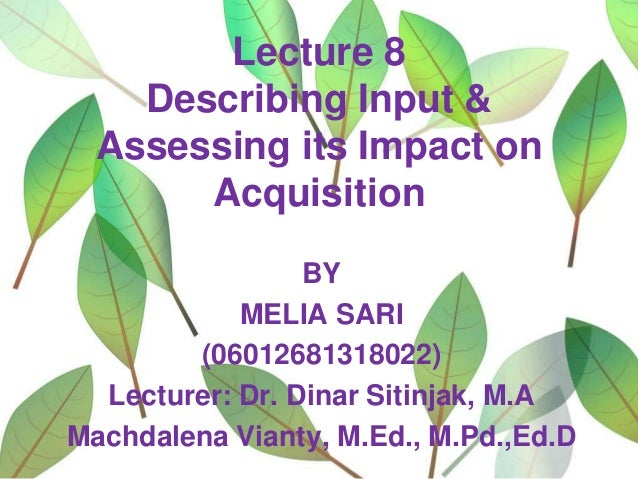 Lecture 8 Describing Input & Assessing its Impact on Acquisition BY MELIA SARI (06012681318022) Lecturer: Dr. Dinar Sitinj...