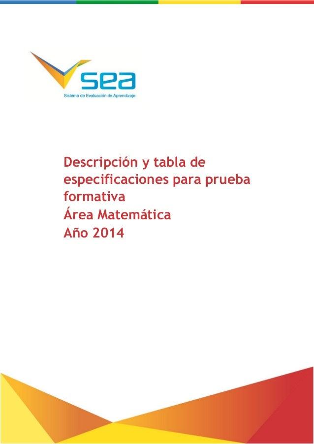 Descripción y tabla de especificaciones para prueba formativa – Matemática Descripción y tabla de especificaciones para pr...