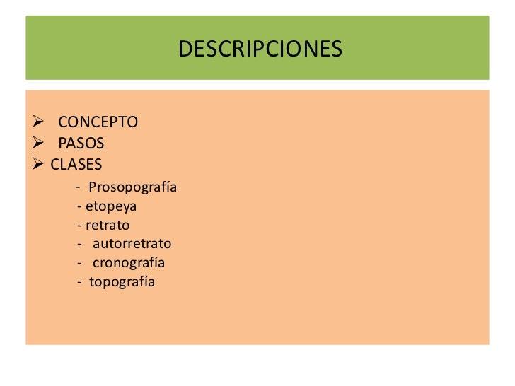 DESCRIPCIONES<br /><ul><li> CONCEPTO