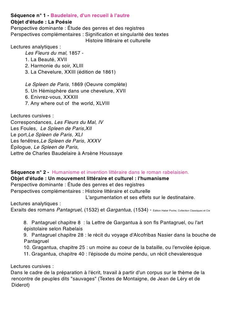 Séquence n° 1 - Baudelaire, d'un recueil à l'autre Objet d'étude : La Poésie Perspective dominante : Étude des genres et d...