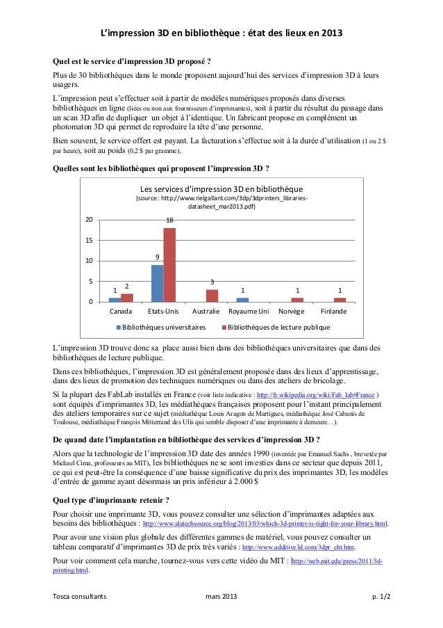 L'impression 3D en bibliothèque : état des lieux en 2013Quel est le service d'impression 3D proposé ?Plus de 30 bibliothèq...