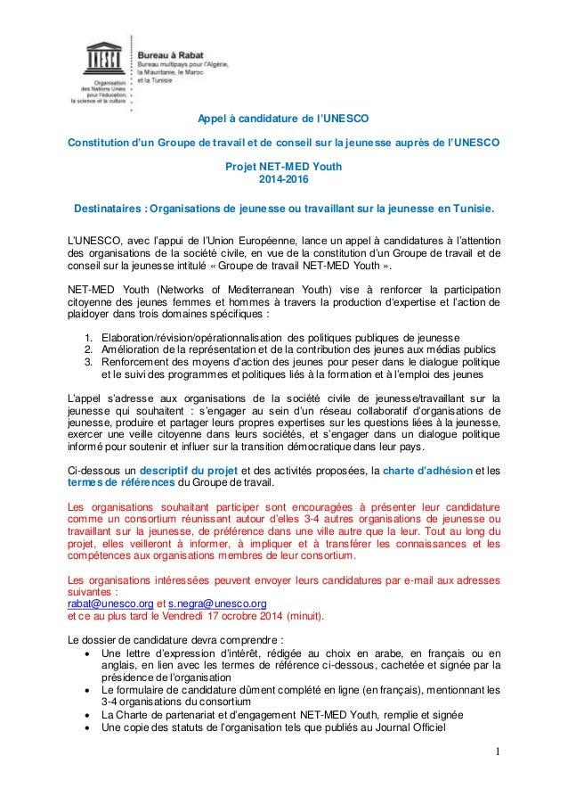 1  Appel à candidature de l'UNESCO  Constitution d'un Groupe de travail et de conseil sur la jeunesse auprès de l'UNESCO  ...