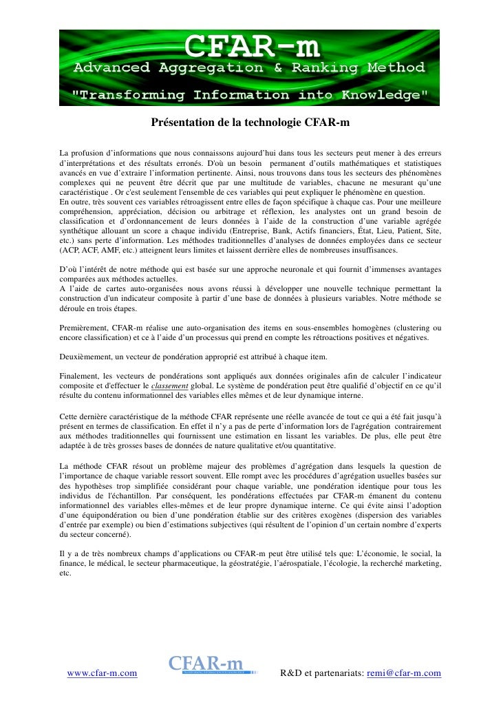 Description de la technologie CFAR-m