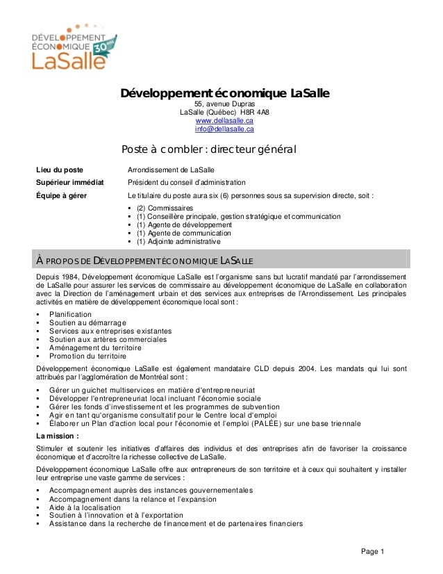 Page 1 Développement économique LaSalle 55, avenue Dupras LaSalle (Québec) H8R 4A8 www.dellasalle.ca info@dellasalle.ca Po...
