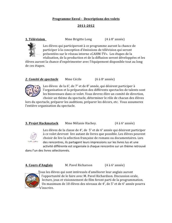 Programme Envol - Descriptions des volets                                      2011-20121. Télévision                Mme B...