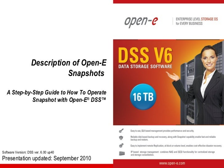 Description of Open-E                             Snapshots   A Step-by-Step Guide to How To Operate             Snapshot ...