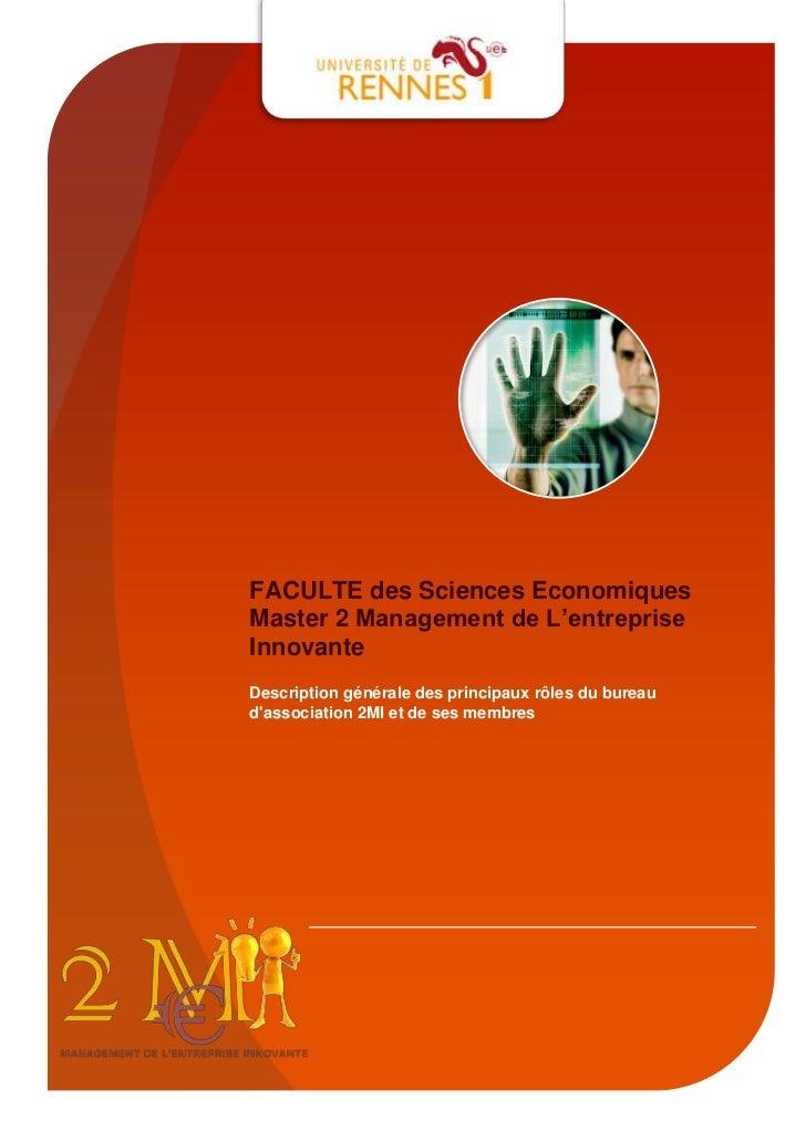 FACULTE des Sciences EconomiquesMaster 2 Management de L'entrepriseInnovanteDescription générale des principaux rôles du b...