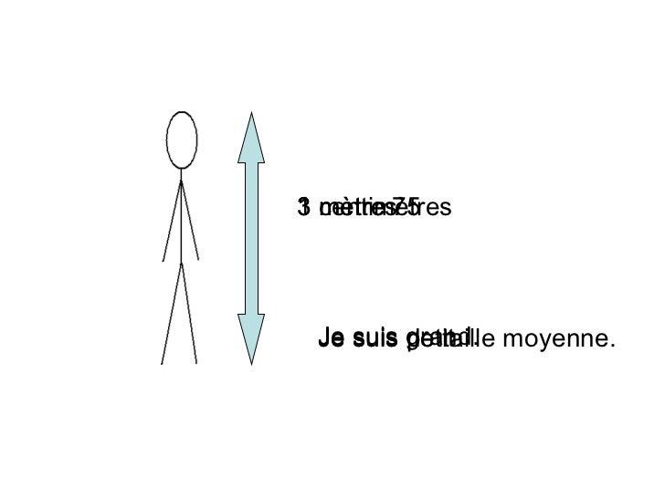3 m ètres Je suis grand. 3 centim ètres Je suis petit. 1 m ètre 75 Je suis de taille moyenne.