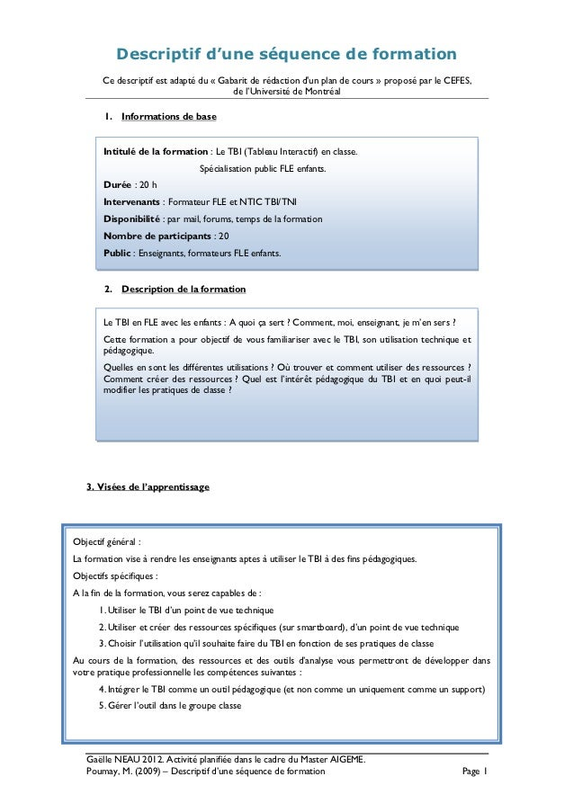 Descriptif d'une séquence de formation        Ce descriptif est adapté du « Gabarit de rédaction dun plan de cours » propo...