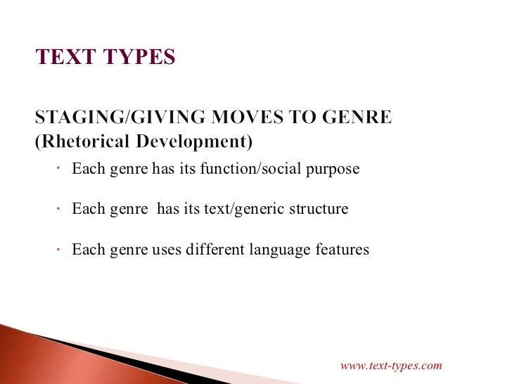 <ul><li>Each genre has its function/social purpose </li></ul><ul><li>Each genre  has its text/generic structure </li></ul>...